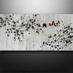 Abstract Painting Art Original Painting Landscape Tree Asian Blossom Zen  Gabriela 48x24 Large Painting Abstract Birds black and white blue