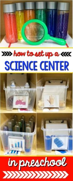 Science center set up ideas and information for prek preschool or kindergarten classrooms Science experiments lessons activities printables and pictures to help you set u. Science Center Preschool, Preschool Classroom Setup, Science For Toddlers, Preschool Curriculum, Free Preschool, Preschool Rooms, Science Ideas, Pre School Classroom Ideas, Kindergarten Science Centers