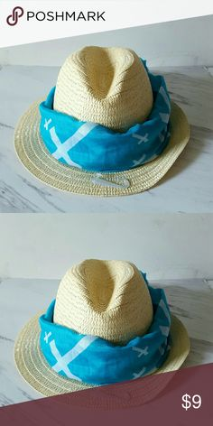 Blue Trim Beach Hat New / Beach hat w/ blue removable scarf ss Accessories Hats