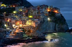 Manarola at dusk (by: Herbert Wong) The Places Youll Go, Places To See, Dream City, Northern Italy, Most Beautiful Cities, Travel Information, Travel And Leisure, Dusk, Places To Travel