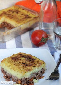 Pastel de carne picada y puré de patata, receta sencilla y cómoda para el almuerzo familiar con fotos paso a paso de elaboración y consejos para que te salga