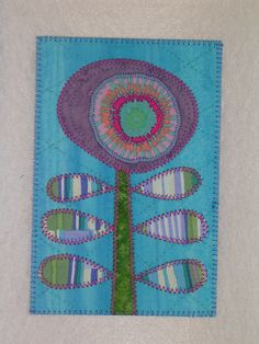 Flower   Applique Quilted Fabric Postcard  Whimsical by postquilts, $6.00