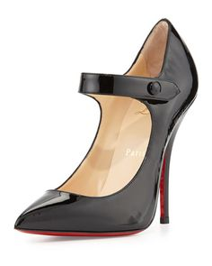 X2GQS Christian Louboutin Neo Pensee Mary Jane Red Sole Pump, Black