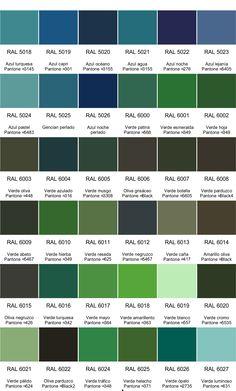 Les teintes de vert nuancier RAL | nuancier couleurs | Pinterest ...
