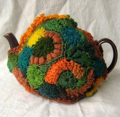 Freeform Crochet tea cozy Conversation fits by 2SistersStringworks, $60.00