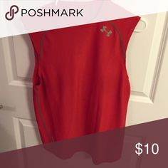 Under Armour Hear Gear Red Sleeveless Heat Gear Under Armour Shirts Tees - Short Sleeve