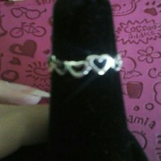 Pinky or toe ring 925 Sterling silver Hearts as band Opening in back NWOT Jewelry Rings
