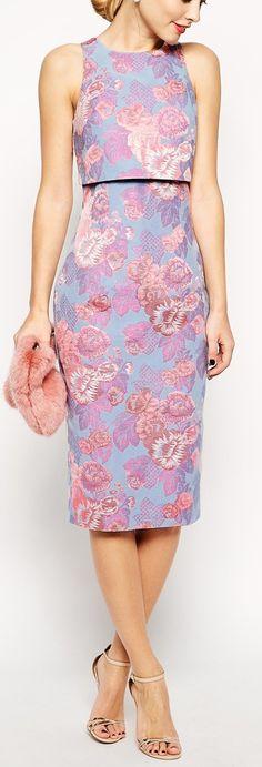 floral jacquard layered dress