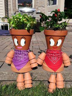 Gartendeko-tontopfen-selber-machen-waldtiere | цветы и цветочные ... Gartendeko Tontopfen Selber Machen