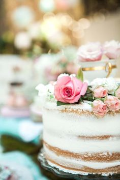 Gorgeous Naked Cake from a Shabby Chic Alice In Wonderland Birthday Party via Kara's Party Ideas KarasPartyIdeas.com (43)