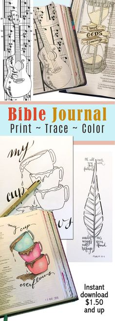 I love these! If you are Bible journaling, these budget-friendly printables are AWESOME! The designs are great. Just download, trace, and color it to make it yours. #ad #biblejournaling #printables #journal #coloring
