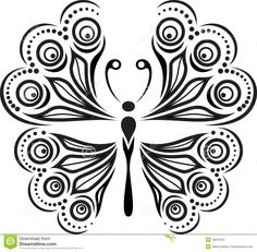 """Buy the royalty-free Stock vector """"Silhouette butterfly with open wings tracery. Black and white"""" online ✓ All rights included ✓ High resolution vector . Zentangle Drawings, Doodle Drawings, Easy Drawings, Painting & Drawing, Dot Painting, Deco Cuir, Butterfly Drawing, Wood Burning Patterns, Quilling Patterns"""