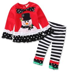 Genluna Little Girls Christmas Santa Long Sleeve Shirt + Stripe Pants Outfit Set 110cm Red. Comfortable to touch and wear. Suitable for stage performance or parties, Christmas and so on. Made of high material:Cotton. Fashion,Cute,Sweet for baby. Long sleeve snowman shirt and stripe pants set.