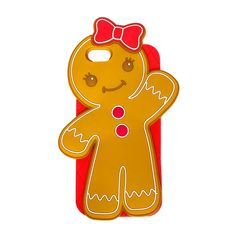 This festive holiday cookie phone case features a gingerbread lady with a red bow. silicone phone case Flashing buttons Compatible with iPhone 6 Ipod Covers, Ipod 5 Cases, Ipod Touch Cases, Cute Phone Cases, Phone Accesories, Girl Cases, Silicone Phone Case, Cute Cases, Just In Case