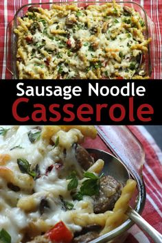 This Sausage Noodle Casserole is really a glorified mac and cheese, full of comfort and love, dotted with spicy bits of sausage and juicy peppers. So delicious and easy, it's very make-ahead and freezer-friendly. Noodle Casserole, Casserole Recipes, Easy Weekday Meals, Easy Dinners, Pasta Dishes, Food Dishes, Italian Casserole, Easy Baking Recipes, Homemade Sauce
