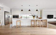 """Minimalist can be about getting fresh and funky too. """"Loving this fresh and funky kitchen design from which features our trendy Vivid Slimline Oval Sink Mixer in classic Chrome! Funky Kitchen, Home Decor Kitchen, Kitchen Living, Kitchen Interior, New Kitchen, Home Kitchens, Best Kitchen Layout, Wood Floor Kitchen, Bright Kitchens"""