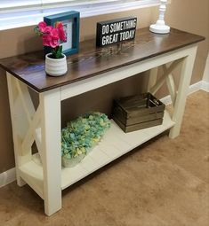 Rustic Entry Table, Farmhouse Sofa Table, Rustic Sofa Tables, Sofa Table Decor, Entry Tables, Farmhouse Furniture, Wood Table, Pipe Table, Entry Hall Table