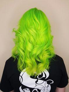 Neon green hair curls
