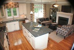 Great Room with Jasper hardwood natural / oak flooring, Duchess 4-Light Bowl Pendant Chandelier, West elm henry sofa