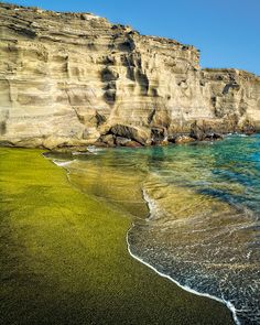 Green Sand Beach...  Puu Mahana Beach (Green Sand beach) is the spectacular erosion product of a volcanic cinder cone near South Point on the Big Island of Hawaii.