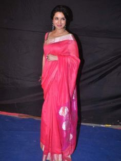 Tisca Chopra in a Chanderi Saree looking so elegant.