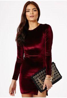 Gretina Velvet Split Mini Dress - Dresses - Mini Dresses - Missguided