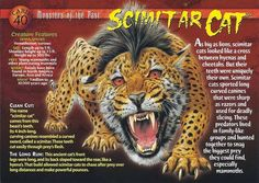 Monsters of the past Card 40 - Scimitar Cat Wild Creatures, Fantasy Creatures, Mythical Creatures, Prehistoric World, Prehistoric Creatures, Names Of Dinosaurs, Myths & Monsters, Legends And Myths, Supernatural Beings