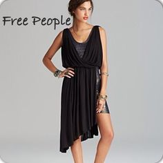 Free people asymmetric dress Never wore this dress because it's too short on me Free People Dresses Mini