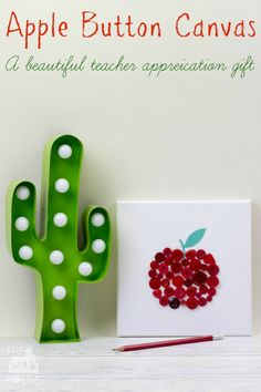 Teacher crafts button apple canvas teacher gift this beautiful craft is a perfect teacher appreciation gift Creative Arts And Crafts, Fun Crafts For Kids, Craft Activities For Kids, Projects For Kids, Easy Crafts, Craft Projects, Creative Play, Autumn Activities, Kids Diy