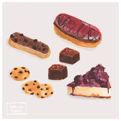 Having fun illustrating some patisserie in watercolor without outline as usual..  #patisserie #foodillustration #eclair #cookie #cheesecake #brownie #watercolor