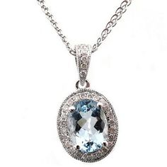 14K Aquamarine & Diamond Pendant - Aquamarine Necklaces & Pendants $302.50