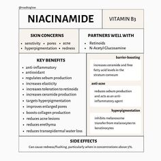 Niacinamide Or Vitamin Is A Water-Soluble Vitamin That Boasts A Heck-Of-A-List Of Benefits, Ranging From Foot Detox Soak, Vitamins For Skin, Face Skin Care, Skin Tips, Skin Care Regimen, Skin Treatments, Good Skin, Beauty Skin, Niacinamide Benefits