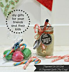 The Happy Housie- DIY Gifts for Your Friends and Their Kids Peppermint Sea Salt Scrub and Peppermint Sparkle Playdough with free printable labels