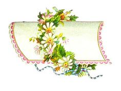 Antique Images: 2 Flower Digital Label Designs: Vintage Victorian Die Cuts of Flower Labels