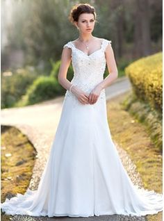 A-Line/Princess V-neck Court Train Chiffon Wedding Dress With Lace Beading Sequins (002000159) - JJsHouse