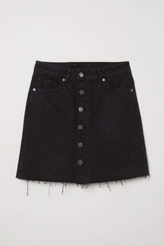 Denimnederdel i A-facon - Sort denim - DAME Denim Skirt Outfit Summer, Black Skirt Outfits, A Line Denim Skirt, Blue Denim Skirt, Black Denim, Black Shorts, Girls Fashion Clothes, Teen Fashion Outfits, Denim Fashion