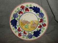 Antique Stick Spatter SPONGEWARE Rabbitware PLATE - Rabbits & Frog - (Lot1)