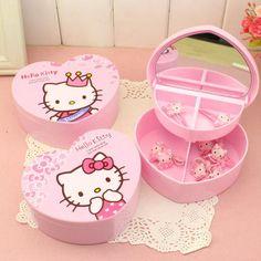 Hello Kitty Heart-shape Jewelry Case w/ Mirror