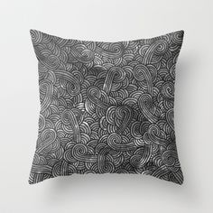 """""""Grey and black arabesques"""" Throw Pillow by Savousepate - $20.00 #throwpillow #pillow #black #white #grey #gray #blackandwhite #scrolls #pattern #doodles #zentangle #abstract"""