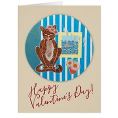 Happy Valentine's Day Greeting Card w/ Kitty Cat - valentines day gifts gift idea diy customize special couple love