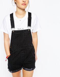Image 3 of ASOS PETITE Denim Dungaree Shorts in Washed Black