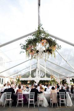 greenery + flowers + chandelier