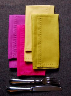 If you would like to make 8 napkins ONLY you will need:    1/2-yard of Echino Solid in Bright Pink  1/2-yard of Echino Solid in Chartreuse  1/2-yard of Kona Cotton in Bright Pink  1/2-yard of Kona Cotton in Mustard  Embroidery Thread in Light Brown Black  A small embroidery needle  fabric marker such as tailor's chalk or a pencil  Finished Measurements  Napkins: 16-inches square