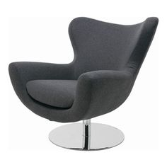 "Nuevo Living - Conner Modern Lounge Chair by Nuevo Living, Dark Grey - The Conner Modern Lounge Chair by Nuevo Living will be a fun, stylish and cheerful addition to any modern or contemporary space. Padded in fire retardant CFS foam and upholstered in light or dark grey wool, this lounger is the epitome of comfort. As you feel the high back wrap around you, you'll feel weightless as you swivel on the stainless steel pedestal base. Conner measures 34.75"" high, 37.5"" wide and 32.75"" deep. ..."