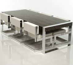 Aluminum Frames Minimalist Modern Dining Table And Chair By Michael Malmborg