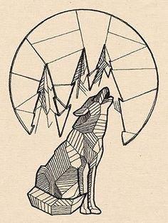 Geometric Howling Wolf w/Moon | Tattoo Ideas | Pinterest