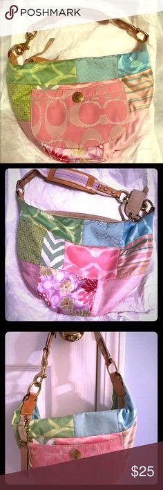 Authentic Coach Purse Colorful Coach patchwork purse Coach Bags Shoulder Bags
