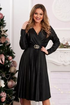 Rochie neagra midi de party plisata din piele ecologica in clos cu elastic in talie Dresses With Sleeves, Formal, Long Sleeve, Fashion, Gowns With Sleeves, Preppy, Moda, Full Sleeves, Fashion Styles