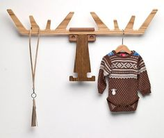 Cato - Coat Rack sculpted from oak and walnut wood by Pur Norwegian