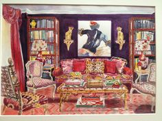 Watercolor of Library, NY Dec 2012 - a room by Alex Papachristidis